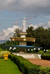 This statue of a woman holding a child's hand stands just in front of Parliament in Kigali, Rwanda, in honour of all Rwandan women and their necessary contributions to the country's process of reconstruction and peace-building.