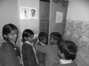 Conditions which girls have to face everyday at schools while sharing the same toilet with boys,results in dropping out of the girls in huge numbers  which are close to 41 % in India