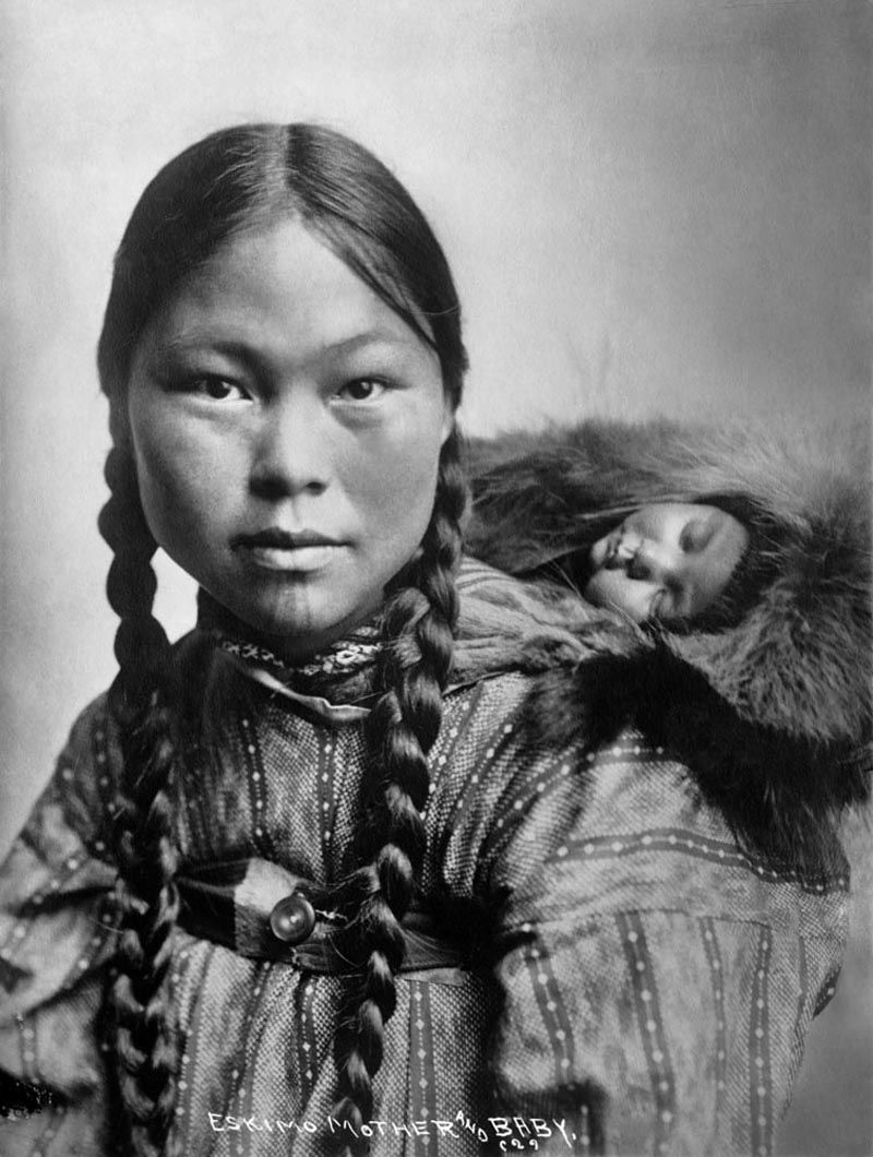 eskimo-Indian woman with child