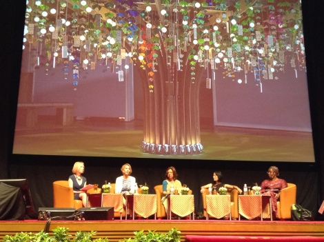The Investing in Girls panel (L-R): Moderator: Kathy Calvin, President and CEO of the United Nations Foundation Panelists: Maria Eitel, Dr. Nafis Sadik, Reeta Roy and Nyaradzayi Gumbonzvanda Backdrop: Nike's Girl Effect Tree
