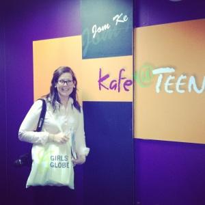 Justine outside of Kaffe Teen