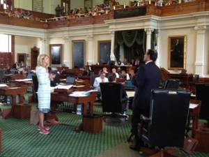 Senator Wendy Davis filibustering FB5 in Texas Senate. Photo courtesy of Stand With Wendy Facebook page