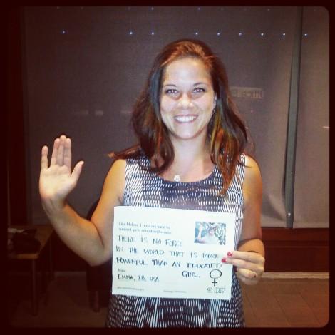 Blogger Emma Saloranta raises her hand for girls' education