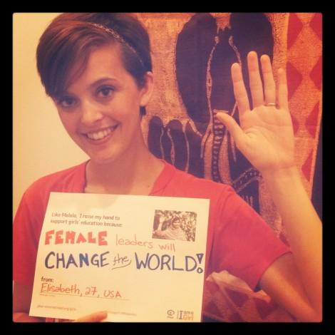 Girls' Globe blogger Elisabeth Epstein raises her hand for girls' education.