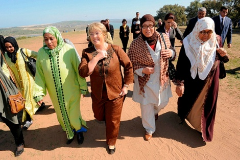 Former UN Women Executive Director Michelle Bachelet visits Rural Women's Land Rights Project in Morocco. Courtesy of UN Women on Flickr (Creative Commons).