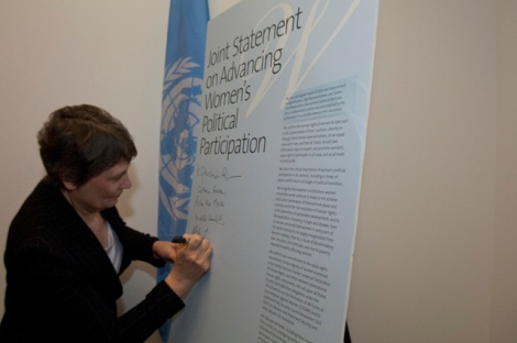 Helen Clark, Under-Secretary-General and Administrator, UN Development Programme, Signing a Joint Statement on Advancing Women's Political Participation Photo courtesy of UN Women