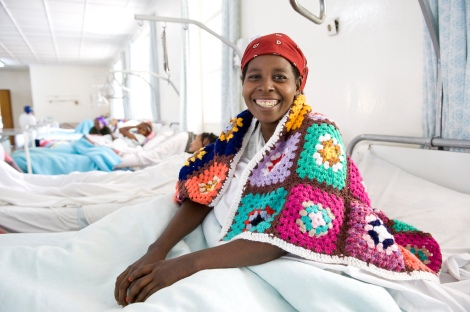 An Ethiopian woman recovers from life-changing fistula surgery at the Hamlin Fistula Hospital in Addis Ababa, Ethiopia.  Photo Credit: Lucy Perry/Hamlin Fistula Relief and Aid Fund Australia