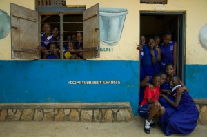 Absenteeism among girls at Kasasa School in Kampala has dropped since a menstrual hygiene program was introduced. Photo c/o Lynn Johnson, Ripple Effect Images