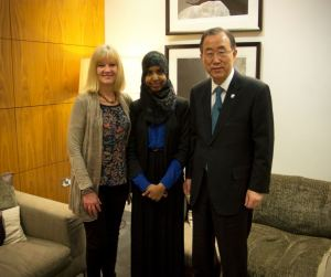 Photo Credit: Integrate Bristol: Lisa Zimmerman, Fahma Mohamed and Secretary General of the United Nations, Ban Ki Moon
