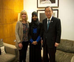 Photo Credit: Integrate Bristol: Lisa Zimmerman, Fahma Mohamed and Secretary General of the United Nations, Ban Ki Moon