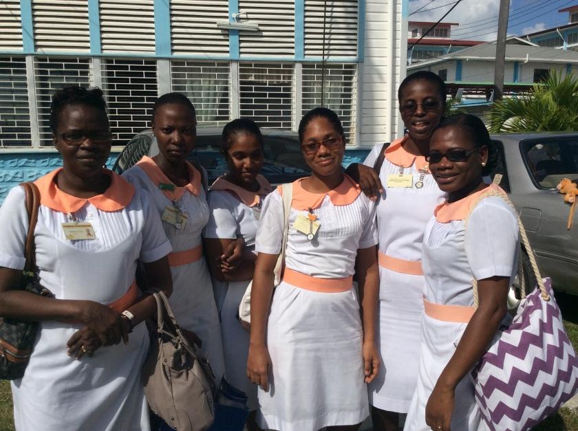 Onika Harris (second to left) and nursing student friends at GPHC; Image c/o Elisabeth Epstein