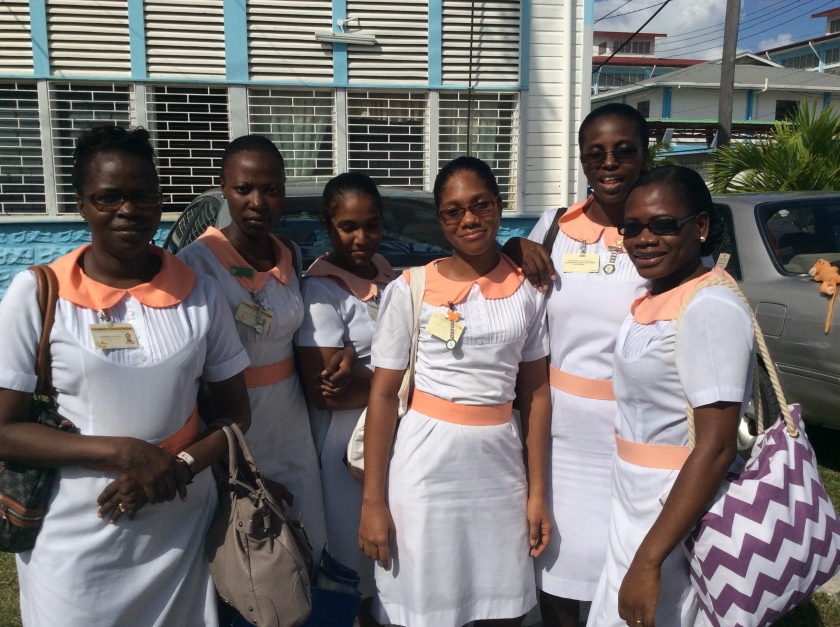 Onika Harris (second to left) and nursing student friends at GPHC; Image c/o Elisabeth Epstein