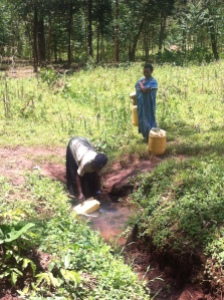 Women collecting water from an unprotected water source in Manafwa. Photo Credit: Eleanor Gall