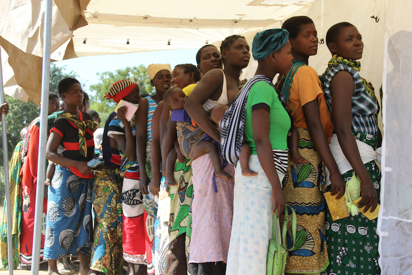 Women in Malawi lining up to register for free family planning services. Image: Lindsay Mgbor/DFID