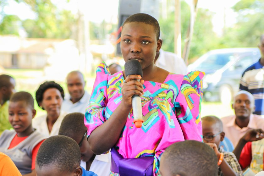 A young person sharing her views in the dialogue in Mubende District Photo Credit: Reach A Hand, Uganda