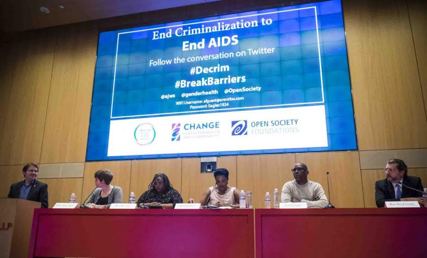 Jason Sigurdson, senior policy and strategy adviser, US Liaison Office, UNAIDS makes opening remarks to panel discussion on impact of criminal laws on HIV epidemic. Arent Fox auditorium, Washington, DC 4 April, 2016  PHOTOS/John Nelson